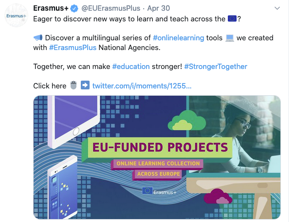 ESCOLA, recognised as a good practice in on-line learning by the Erasmus+ programme