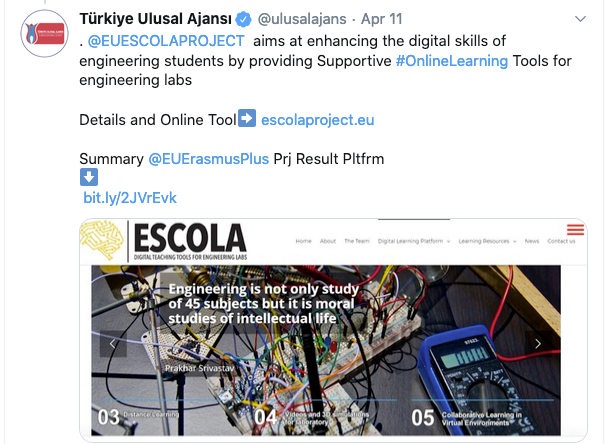 ESCOLA project has been recognized as good practice by the Turkish NA